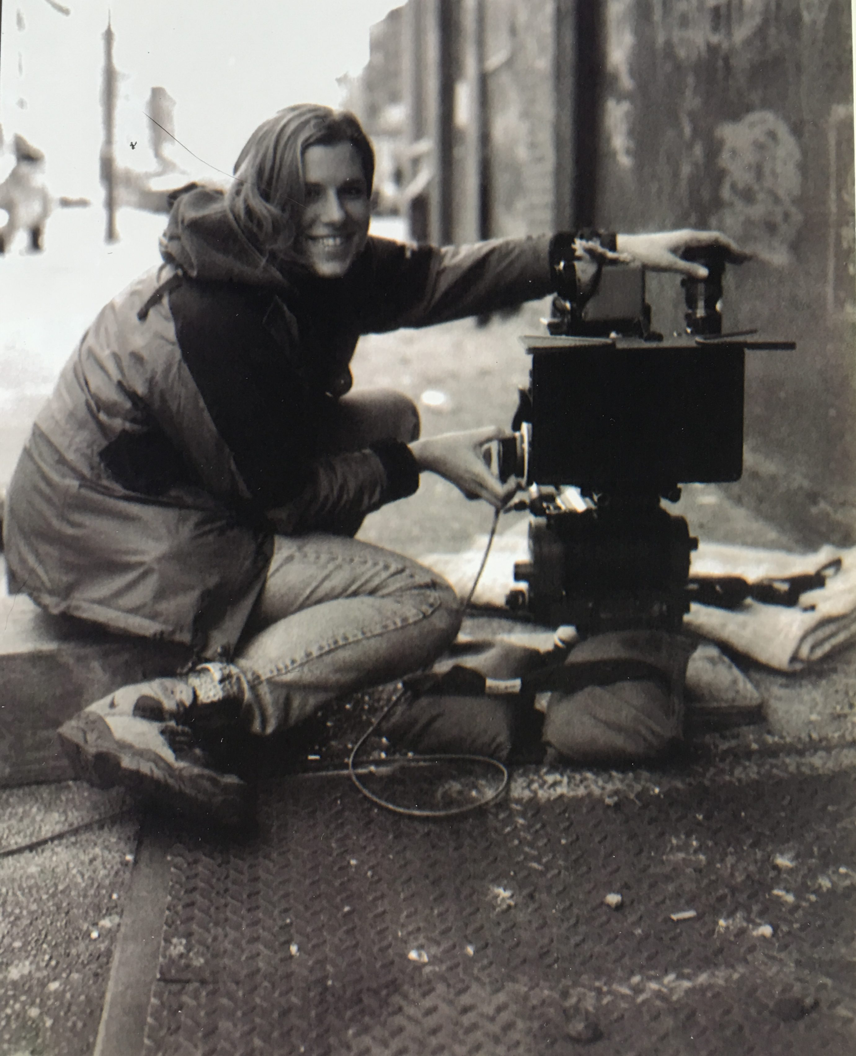 Deborah Brozina on the set of The Siege